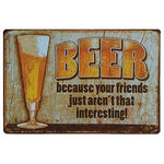Beer Tin Sign Retro Decoration for Home Bar 6pcs