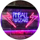 "LED Pinball Wizard Game Room Display Neon Sign Red & Blue 16"" x 12"""
