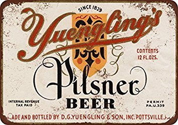 1934 Yuengling's Pilsner Beer Vintage Look Reproduction Metal Tin Sign 12X18 Inches
