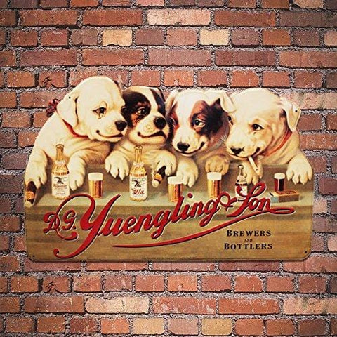 Yuengling Larger Memorable 1907 Dogs Metal Beer Sign