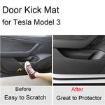 Tesla Model 3 Door Protector Anti-Kick Mat Leather Matte Black Set of 4