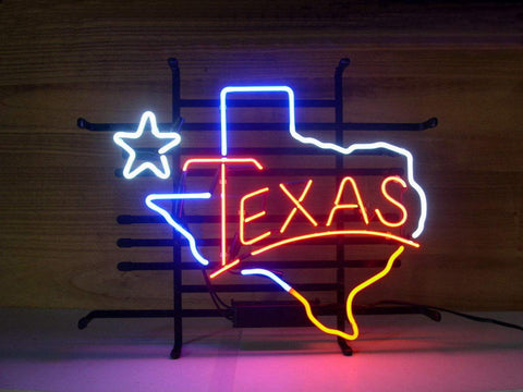 Texas Neon Light Sign Home Beer Bar Pub Recreation Room Game Lights Windows Glass Wall Signs Party Birthday Bedroom Bedside Table Decoration Gifts (Not LED)