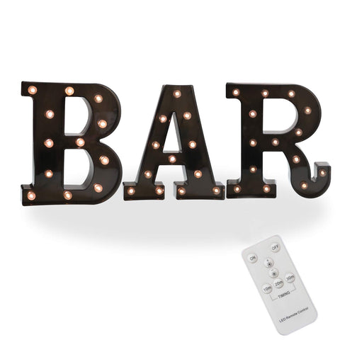 Pooqla Remote BAR Sign Decorative Led Illuminated Letter Lights Marquee BAR Signs - Black Light Up Letters - Lighted Bar Decor (23.03-in x 8.66-in) (Remote - Black BAR)
