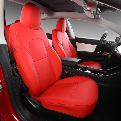 Car Seat Cover for Tesla Model 3 PU Leather Cover All Season Protection 9pcs for Tesla Model 3 2017 2018 2019 2020(red)