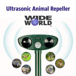 Ultrasonic Pest Repeller by Wide World - Solar Powered Waterproof Outdoor Wild Animal Repellent