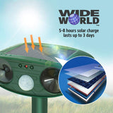 Ultrasonic Pest Repeller by Wide World - Solar Powered Waterproof Outdoor Wild Animal Repellent - Sound Control