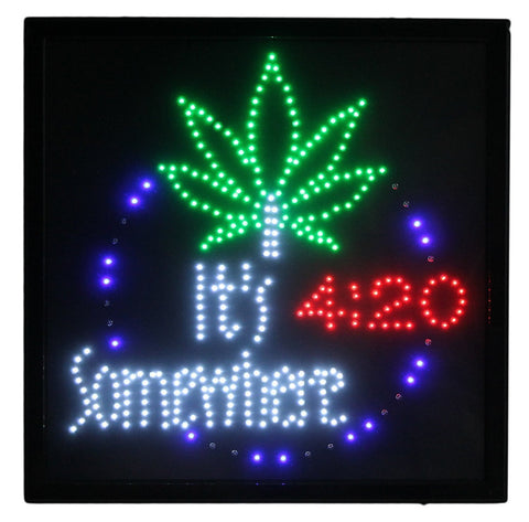 "Marijuana It's 4:20 Somewhere Large 19"" LED Motion Sign"