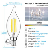Dimmable E12 LED Candelabra Bulbs 60W Equivalent