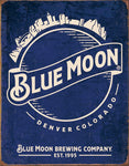 "Desperate Enterprises Blue Moon - Skyline Logo Retro Tin Sign, 12.5"" W x 16"" H"