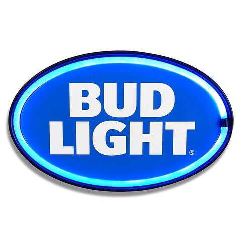 Bud Light - Reproduction Advertising Oval Sign - Battery Powered LED Neon Style Light