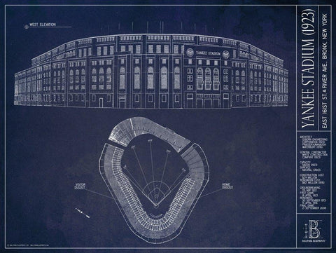 Old Yankee Stadium Blueprint (1923)