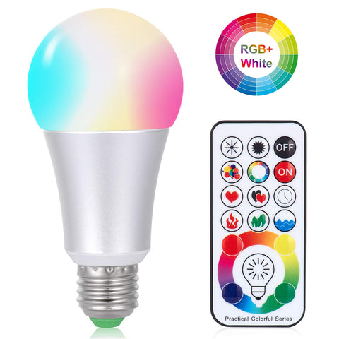 LED Light Bulbs - 10W E26/27 RGBW LED with Remote Control