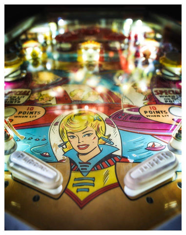 Antique Pinball Machine Fine Art Print - 11x14