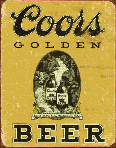 "Desperate Enterprises Coors Golden Beer Vintage Tin Sign, 12.5"" W x 16"" H"
