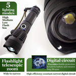 LED Flashlight 19W 4000 lumen telescopic zoom