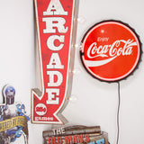 Arcade Reproduction Vintage Advertising Sign - Battery Powered LED Lights, Double Sided Metal Wall Mounted - 25 x 10 x 3 inches