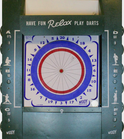 Widdy Geniune Paper Dart Board and Cabinet with Scoreboard & Light Set