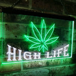 Marijuana Hemp Leaf High Life Dual Color LED Neon Sign White & Green