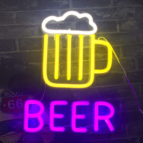 Beer Neon Light Signs New LED Tube Technology - Neon Lights Made by Colored Silicone LED Tube, Compared with traditional glass neon lights, it is more bright and safer, environmentally friendly, durable, power saving, no noise and no heat, 12V, easy to use a variety of scenarios.