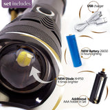 LED Flashlight Set 19W 4000 lumen