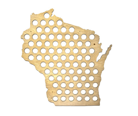 All 50 States Beer Cap Map - Wisconsin Beer Cap Map WI - Semi-glossy maple wood - Skyline Workshop