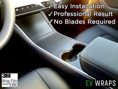 Tesla Model 3 Center Console Wrap - Carbon Fiber