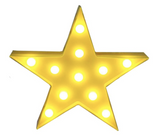 LED Star Marquee Sign  - Yellow with LED bulbs