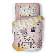 Unicorn in love - bedspread in reversible minky (single & double)