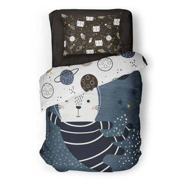 Space race - bedspread in reversible minky (single & double)