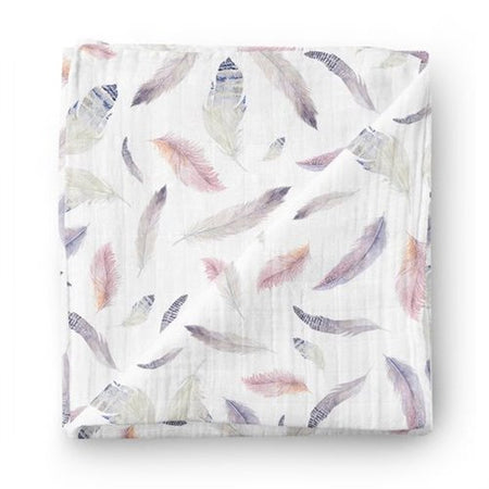 Purple feathers*** - bamboo muslin swaddle