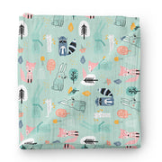 Wintry explorers - bamboo muslin swaddle