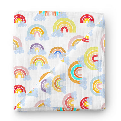 Colorful rainbows - bamboo muslin swaddle
