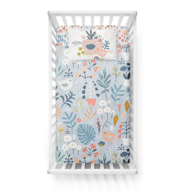 Dreaming in flowers - bedspread in reversible minky (crib)