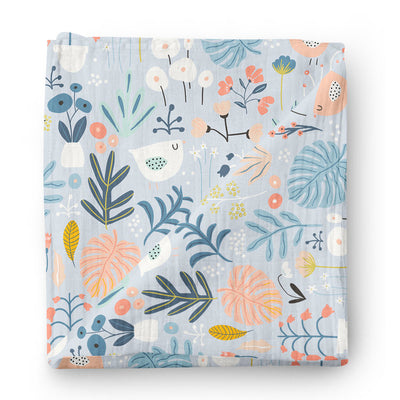 Dreaming in flowers - bamboo muslin swaddle