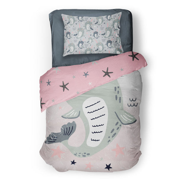 Sea unicorns - bedspread in reversible minky (single & double)