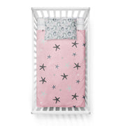 Sea unicorns - bedspread in reversible minky (crib)