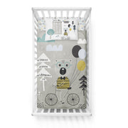 Travelling bear - bedspread in reversible minky (crib)