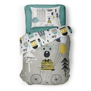 Travelling bear - bedspread in reversible minky (single & double)