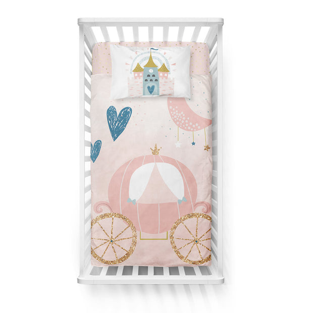 Satin castle - bedspread in reversible minky (crib)