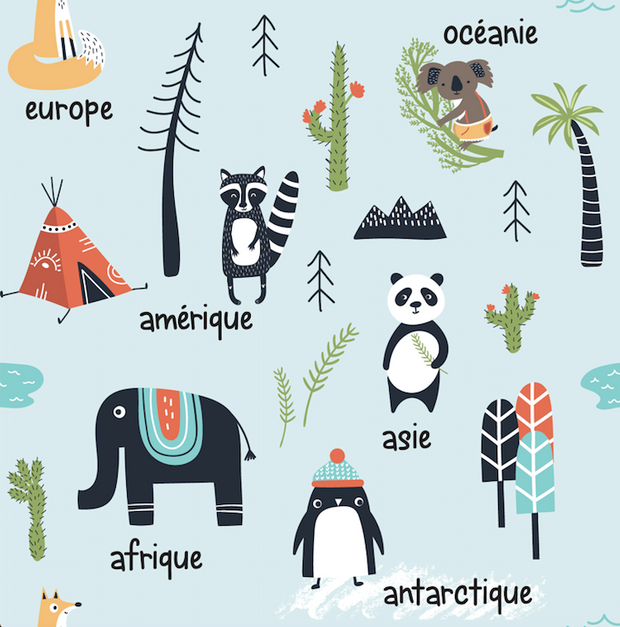 "Animals World Map - ""learning"" bamboo muslin swaddle (French version)"
