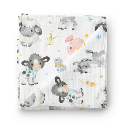 Baby farm animals - bamboo muslin swaddle