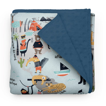 "Animals World Map - ""learning"" minky comforter (French version)"