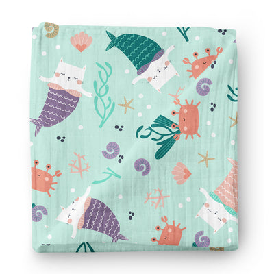Meowgical mermaids - bamboo muslin swaddle