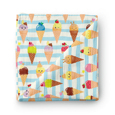 Sweet Ice Cream - bamboo muslin swaddle