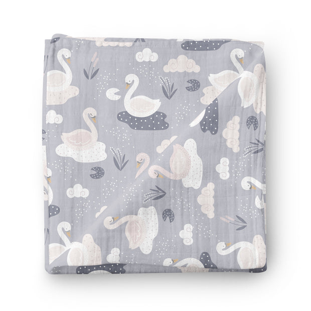 Swan lake - bamboo muslin swaddle