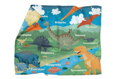 "Jurassic Friends - ""learning"" bamboo muslin swaddle (French version)"