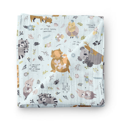 Hugs and kisses - bamboo muslin swaddle
