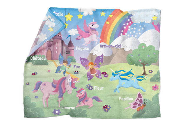 "Dreamy World - ""learning"" bamboo muslin swaddle (French version)"