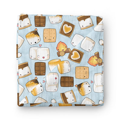 Blue S'Mores - bamboo muslin swaddle