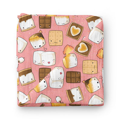 Pink S'Mores - bamboo muslin swaddle